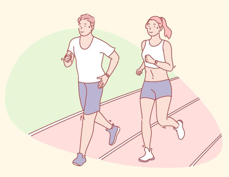 ジョギングする男女