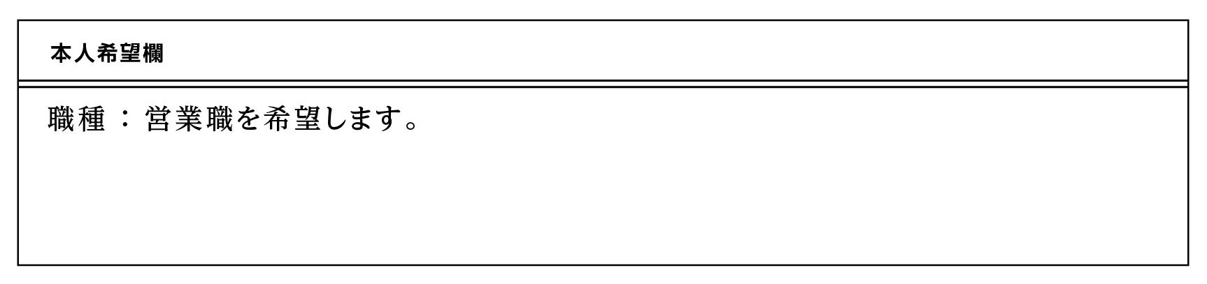 履歴書の本人希望欄の書き方例