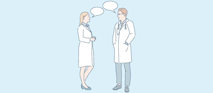会話する医者